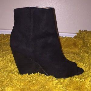 Black Peep Toe Wedge Booties